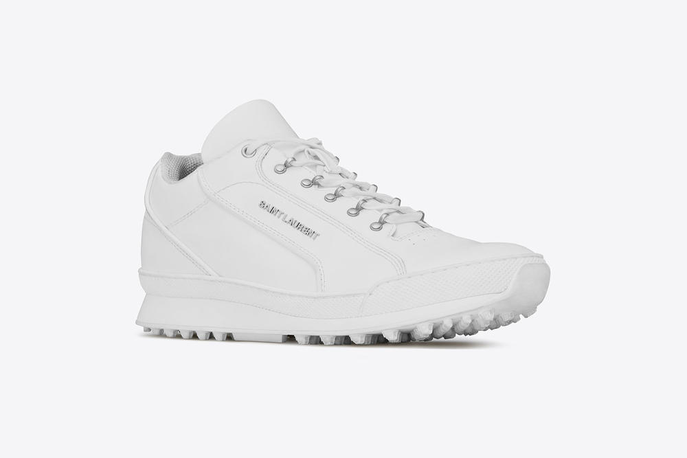 saint laurent jump sneaker premium white leather chunky shoe profile side view leather