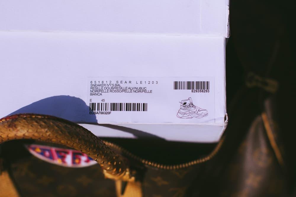 virgil abloh nike air jordan 1 balenciaga triple s custom shoebox label render