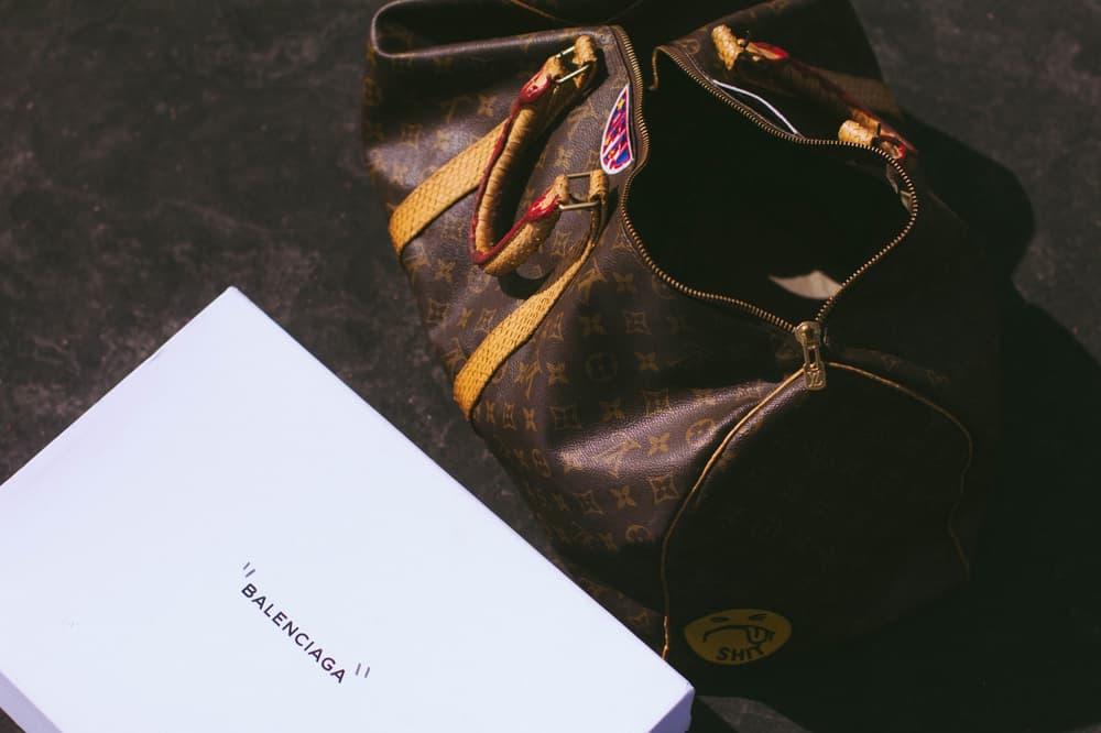 virgil abloh nike air jordan 1 balenciaga triple s custom louis vuitton shoebox vintage keepall 45