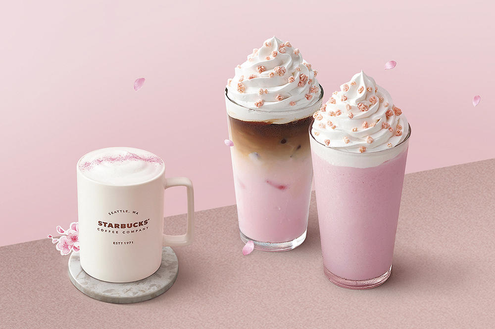 Starbucks Cherry Blossom Pink Drinks 2018 Cream Frappuccino Iced Latte Milk Tea Where To Buy Korea instagram sakura