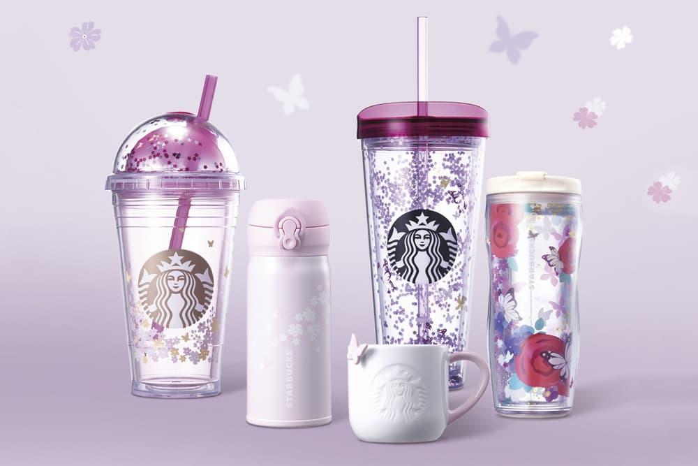 891c1460370 Starbucks Pastel Pink Light Purple Floral Cups millennial butterfly print  pattern mug tumbler glass bottle where