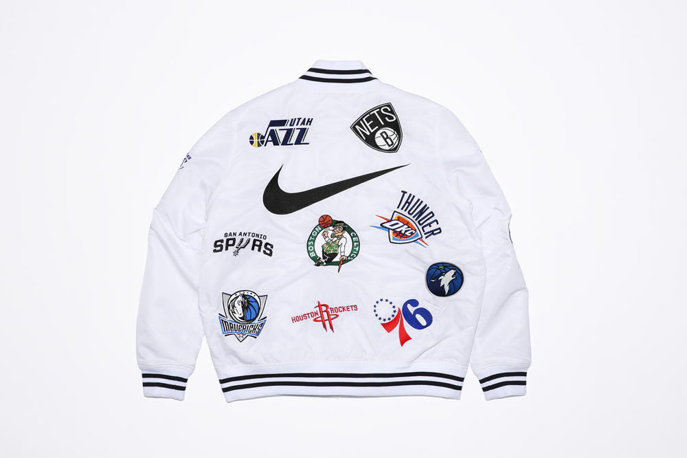 Supreme New York Nike NBA basketball collab collection jersey shorts logo varsity jacket Air Force 1 AF1 where to buy