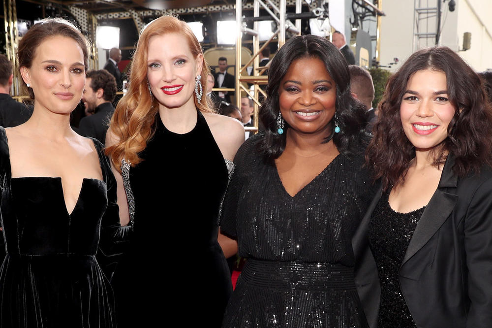 2018 BAFTA Awards Natalie Portman Jessica Chastain Octavia Spencer America Ferrera Black Dresses Time's Up
