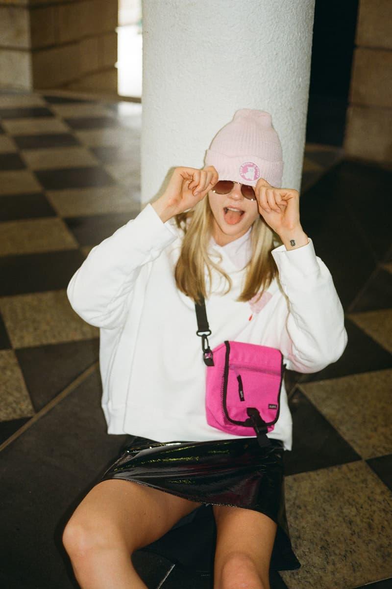 undercover jun takahashi hbxwm hbx editorial pink beanie white crewneck cross body bag