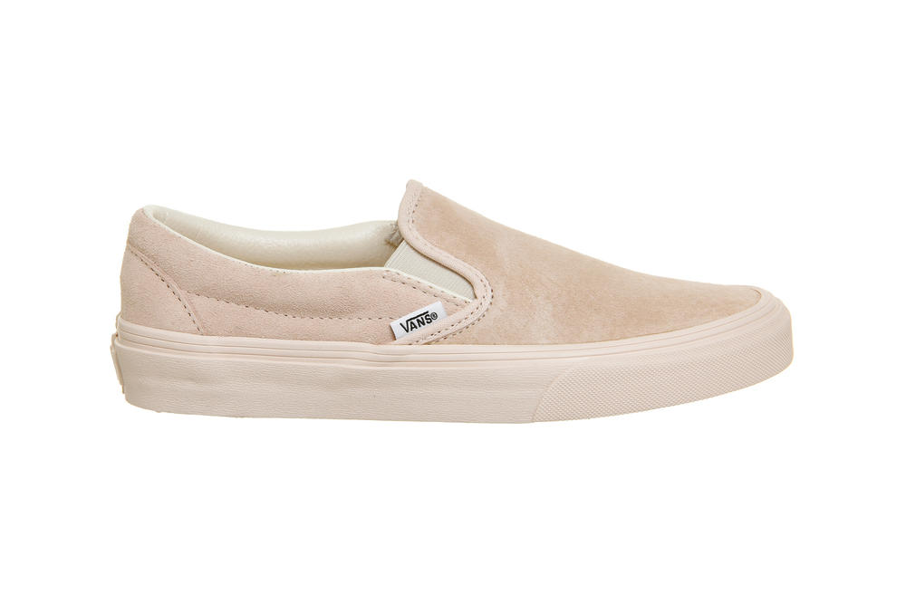 Vans Slip On Eggnog Silver Peony Pink Pastel Suede