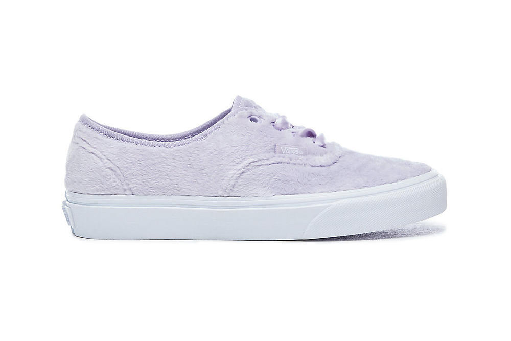 8cb4ef8d0d Vans Furry Pastel Authentic Slip-On Sneakers Lilac Purple Yellow  Checkerboard Fuzzy Fur Women s Girls