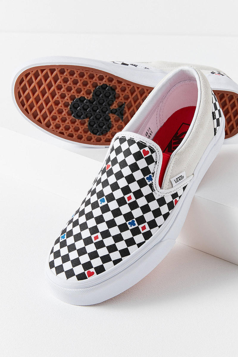 Vans Urban Outfitters Slip On Playing Cards Heart Red White Black Checkerboard