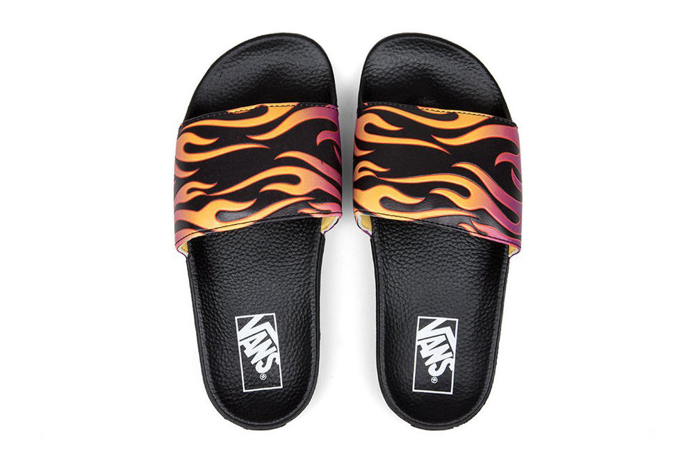 3ca3f2b1544 Vans Women s Graphic Flame Slides pool slip-on summer footwear fire blaze  orange purple off