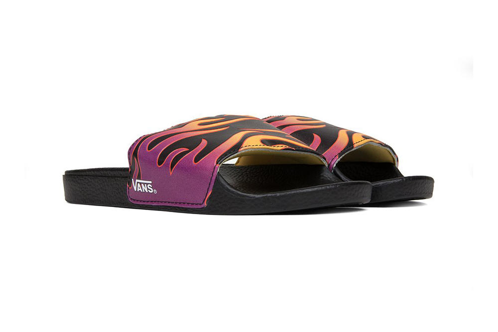 Vans Women's Graphic Flame Slides pool slip-on summer footwear fire blaze orange purple off the wall where to buy feature