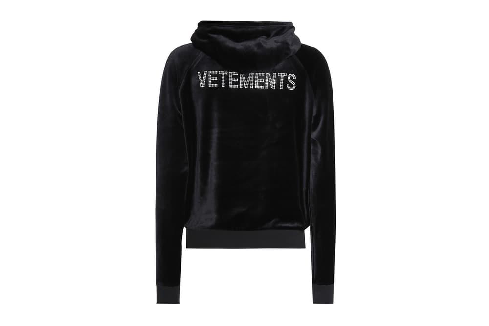 Vetements Velour Rhinestone Logo Hoodie Black 90s 00s Juicy Couture Velvet where to buy mytheresa.com