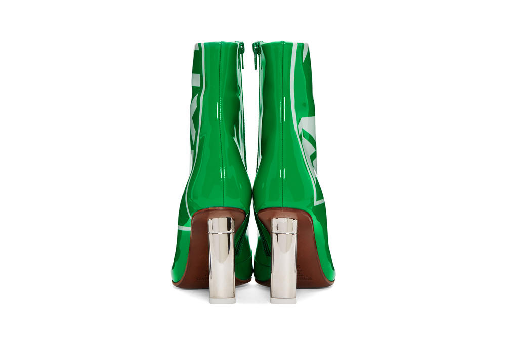 Vetements Green Patent 'Exit' Lighter Boots Spring Arrival Silver Heels Print