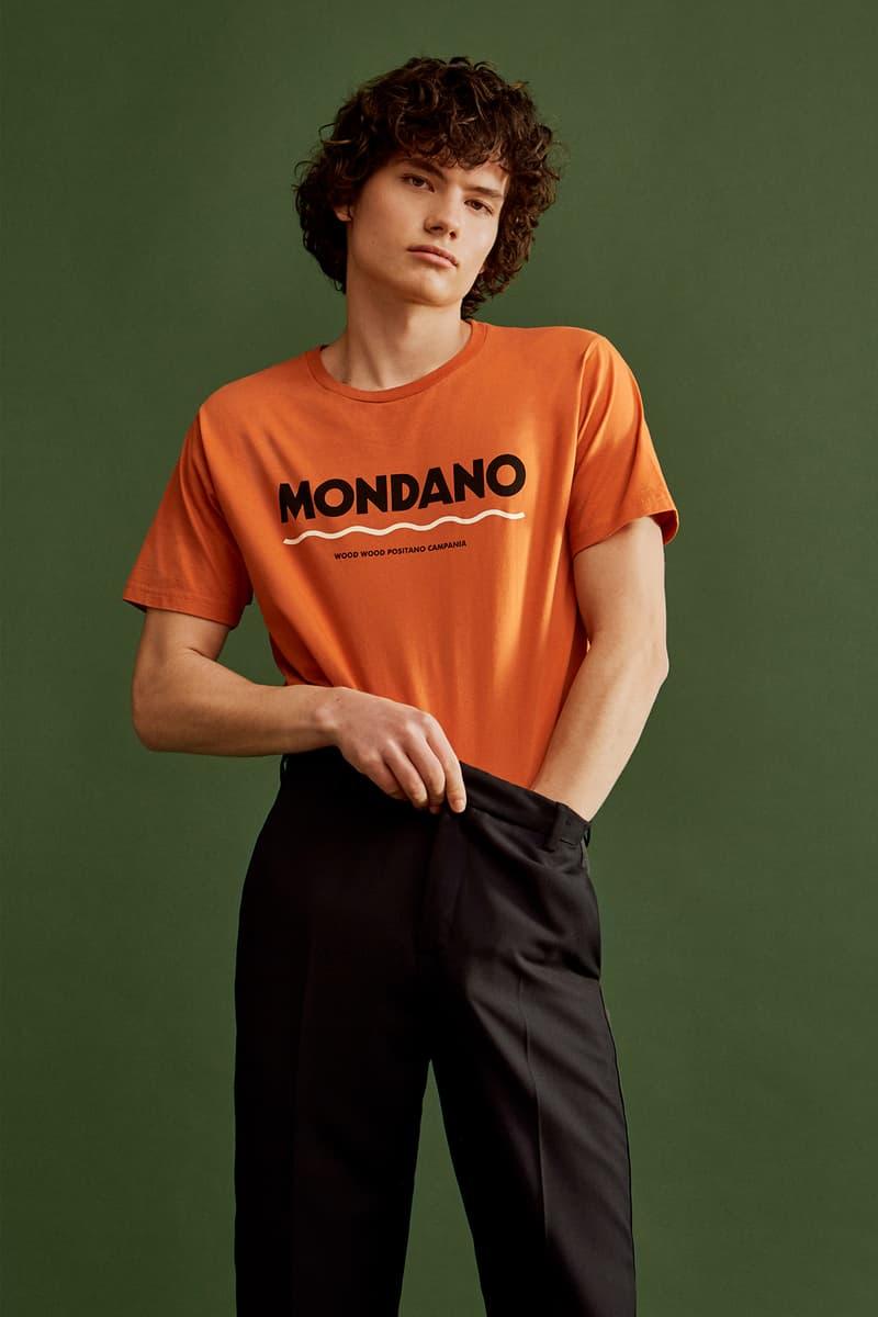 wood wood mid season drop spring summer hoodies tees bucket hats long sleeves orange shirt black pants