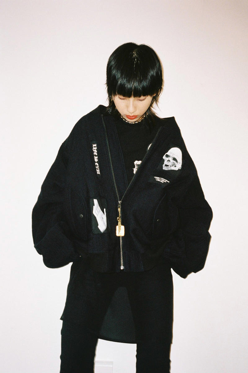 017 Hyein Seo Spring/Summer 2018 Collection Editorial Patchwork Bomber Jacket Black