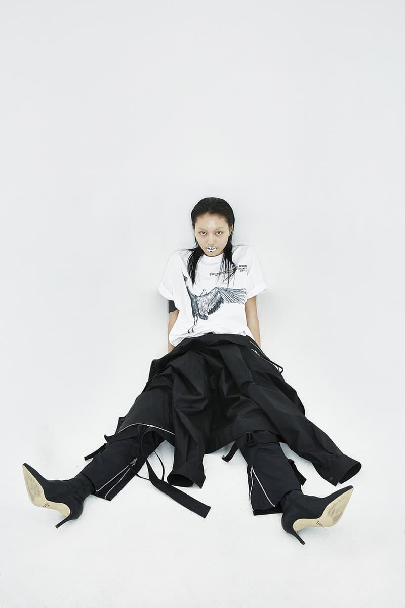 51PERCENT Spring/Summer 2018 Collection Lookbook Soaring Crane T-Shirt Utility Bondage Zipper Pant White Black