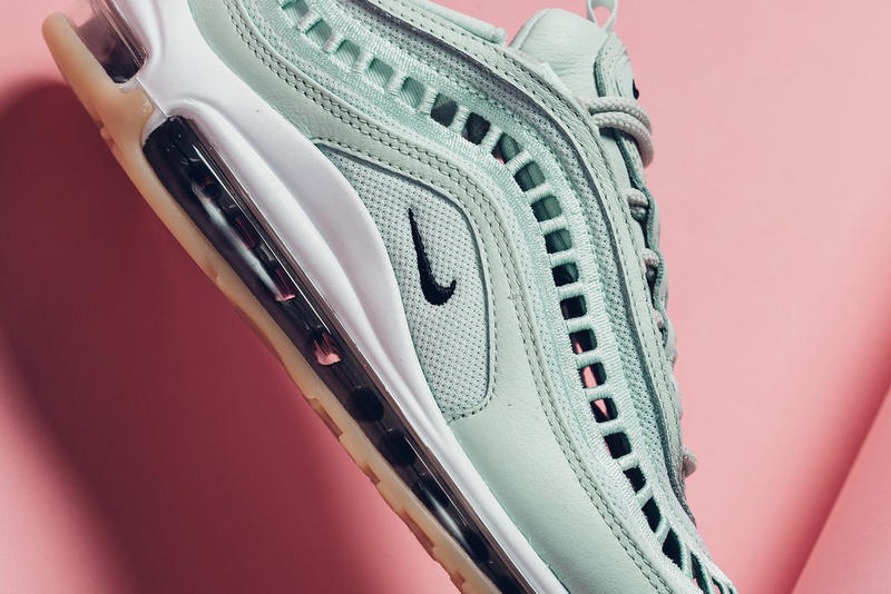 "Nike Air Max 97 Ultra ""Barely Green/Gum"" Sneaker Woven Mesh Panel"