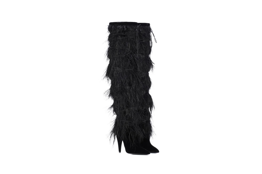Saint Laurent Yeti Boots Black Velvet Ostrich Feather Anthony Vacarello