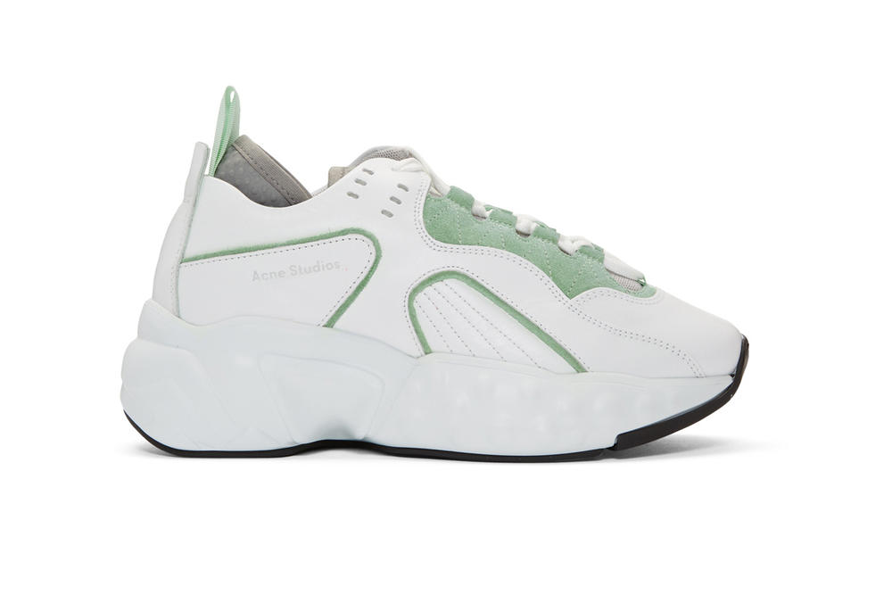 acne studios ssense exclusive manhattan shoes leather mesh chunky sneakers mint green white