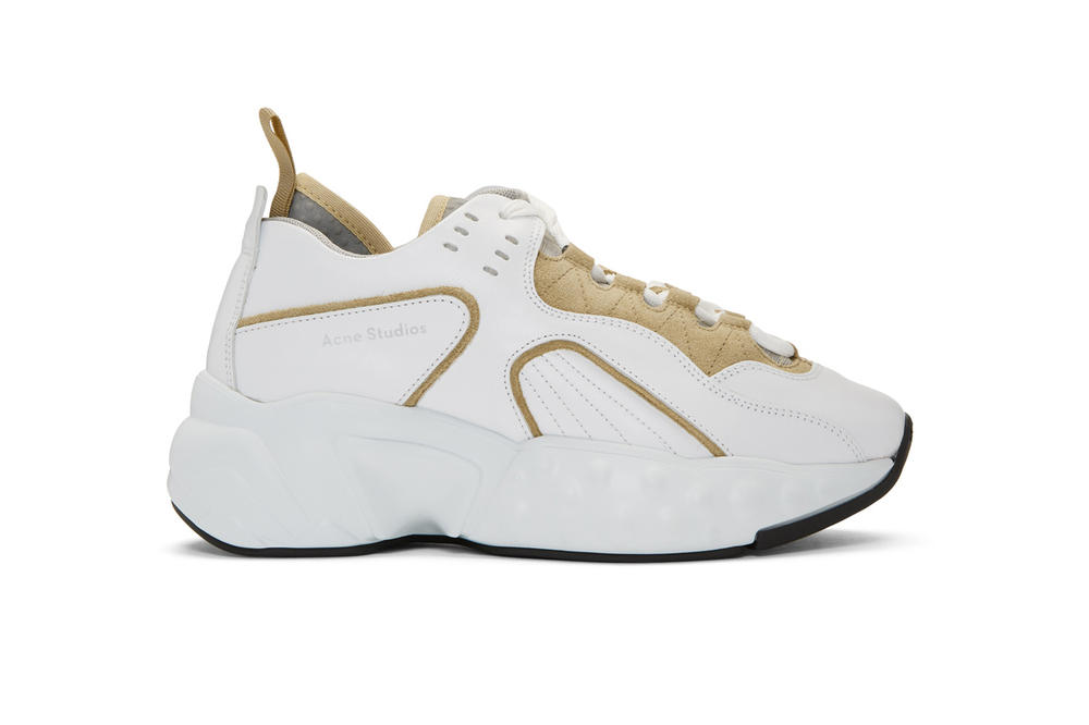 acne studios ssense exclusive manhattan shoes leather mesh chunky sneakers beige white