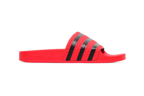 98ad69e8b9d4 adidas  New Adilette Slides Arrive in Fire Engine Red