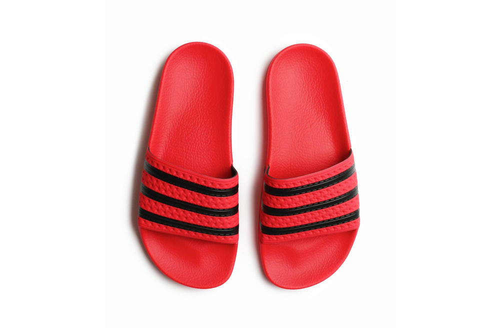 08bbc61244f346 adidas Originals Adilette Slide Real Coral Red Black