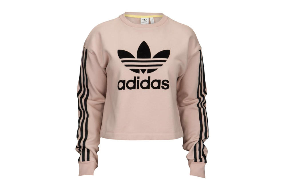 0d3926ccb2 adidas Originals Ash Pearl Dusky Pastel Pink Cropped Logo Sweatshirt Trefoil  Three Stripe Women s Where to
