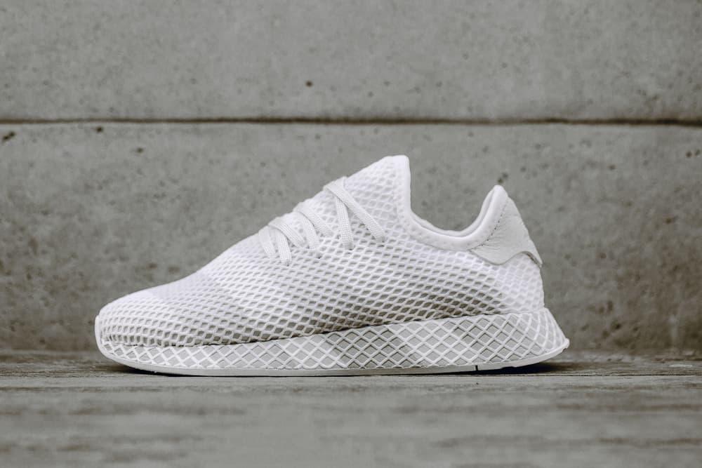 03b04a22dbd adidas Consortium Deerupt Sneaker Grey White Striped Runner Shoe Silhouette