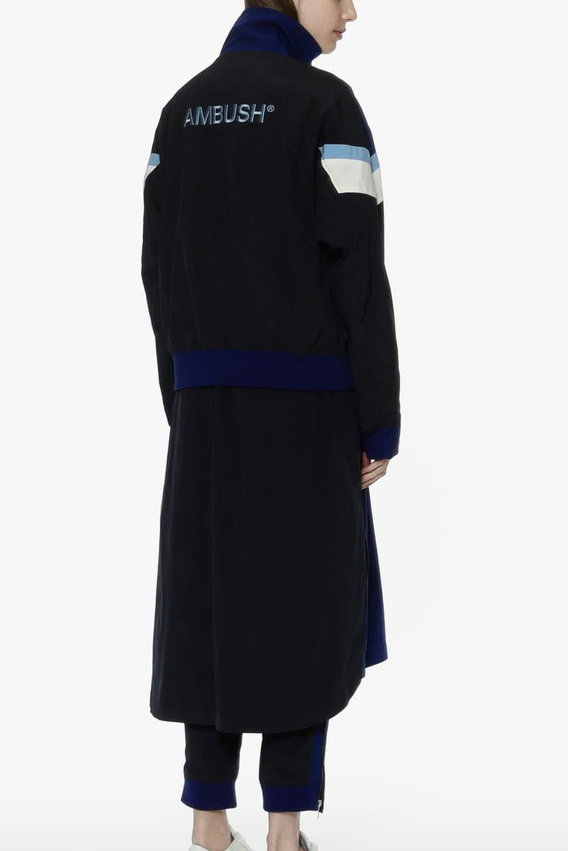 ambush joyce verbal yoon exclusive capsule tracksuit track jacket pants punk dress long jacket navy blue