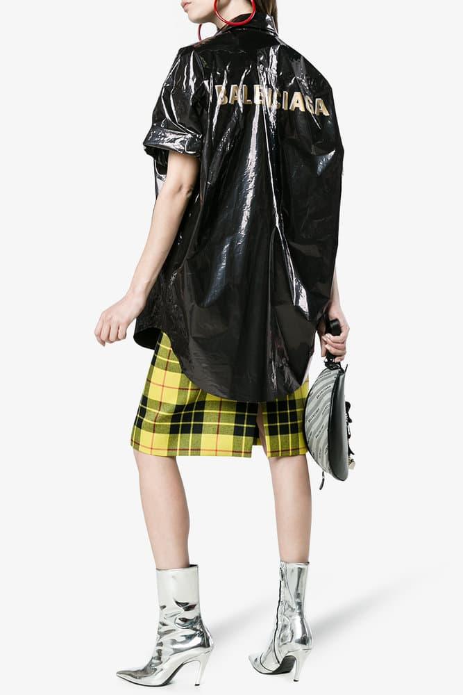Balenciaga Black Bin Bag Trash inspired Logo  Oversized Short Sleeve Shirt Vinyl Plastic Metallic Gold Where to Buy Demna Gvasalia Browns SSENSE