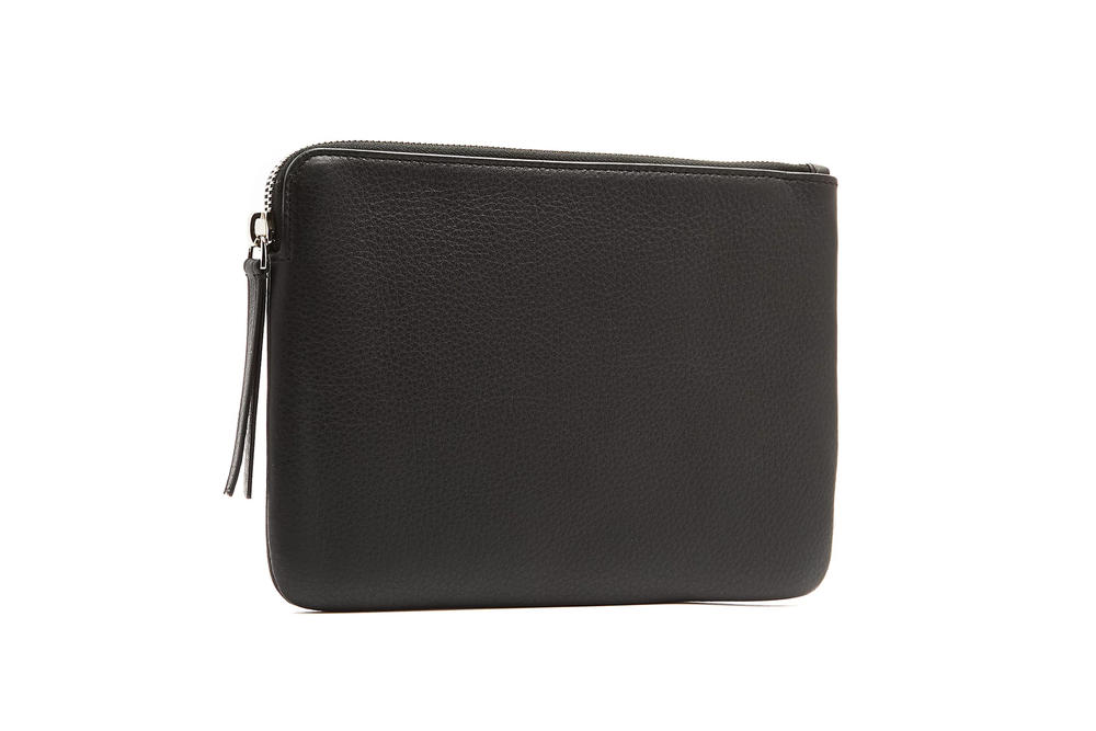 balenciaga shopping pouch black white calf leather grained