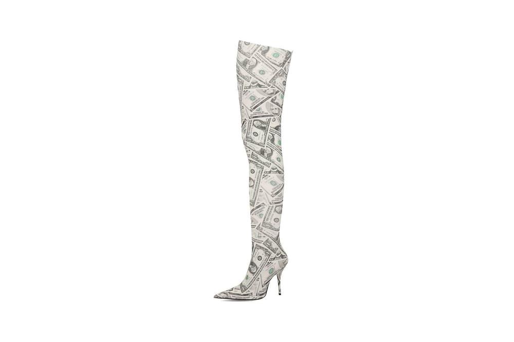 Balenciaga Knife Dollars Thigh High Boots White Green