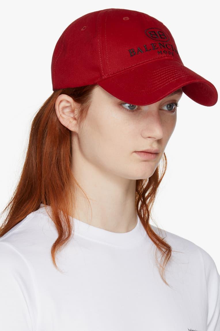 balenciaga demna gvasalia bb dad cap red scarlet white shirt ginger hair side view