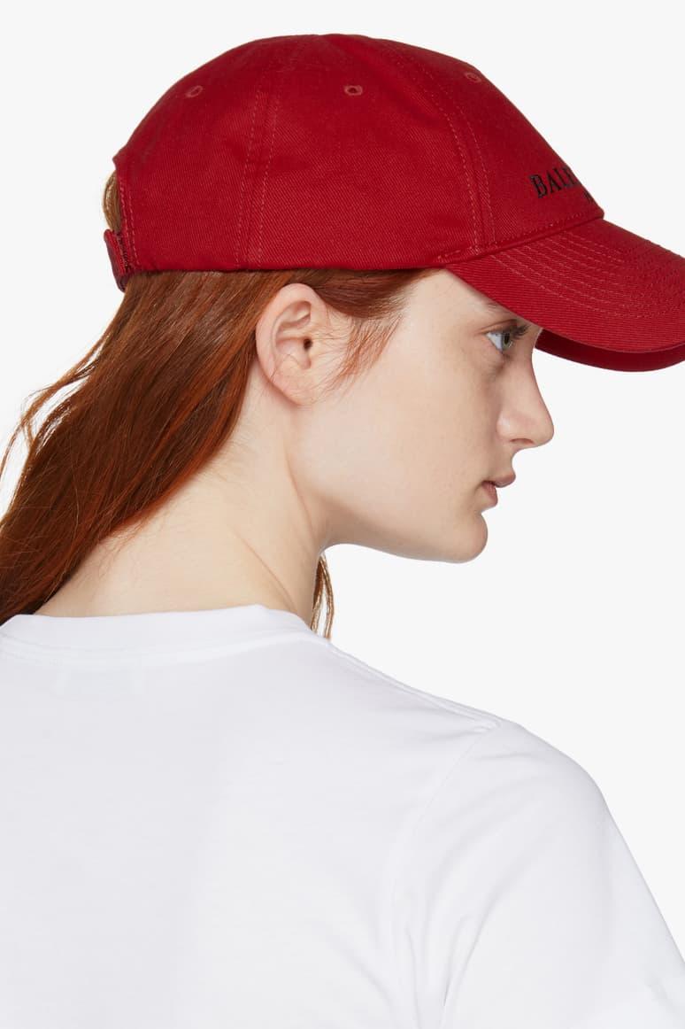 balenciaga demna gvasalia bb dad cap red scarlet ginger hair white shirt back view velcro strap