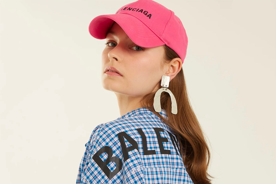 watch db88d 1eef0 Balenciaga Logo Embroidered Cotton Cap in Pink   HYPEBAE