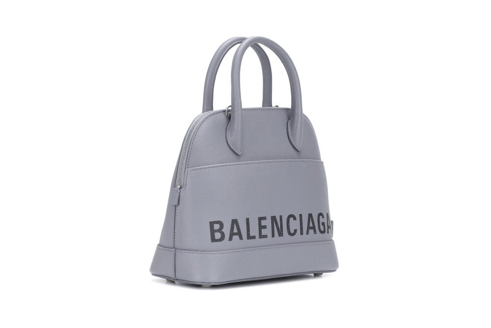 Balenciaga Ville S Leather Logo Tote Bag Grey Black Print Designer