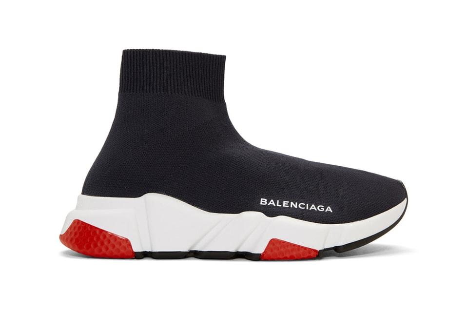 807a32b223a4 Balenciaga Drops Speed High-Top Trainer Navy Red