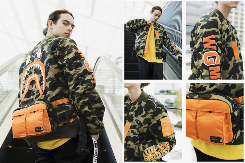 BAPE PORTER STAND SS18 Capsule Collection Spring Summer 2018 Anorak Shark A Bathing Ape Fanny Pack T-shirt bag