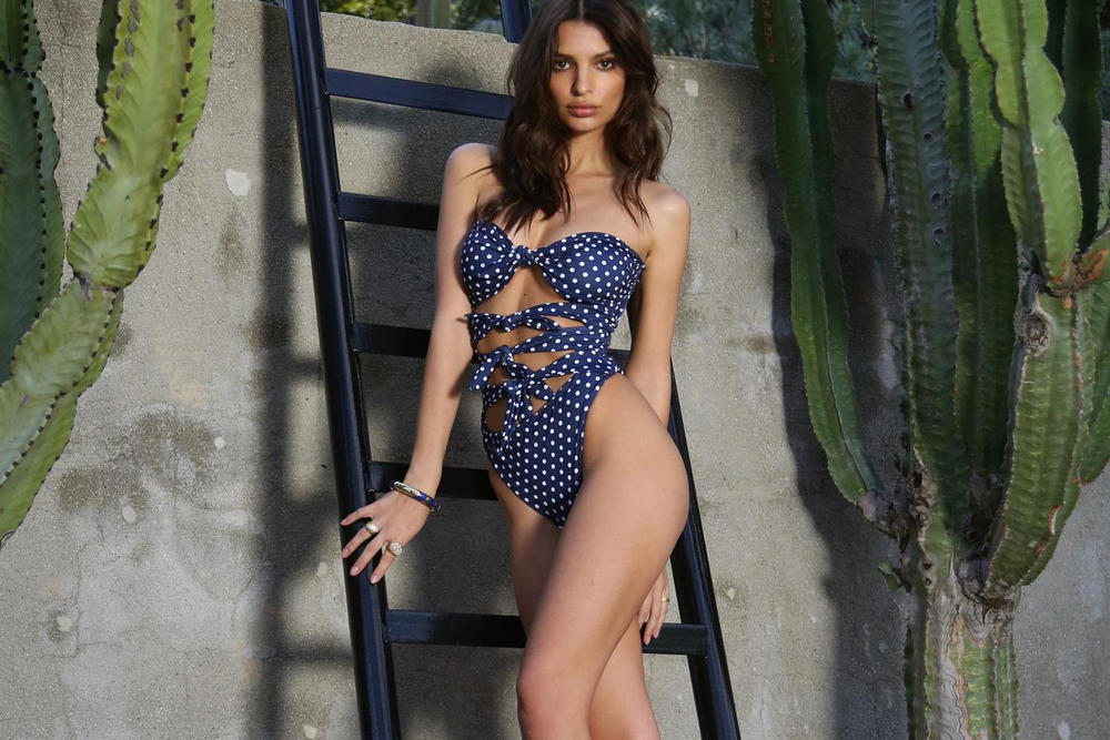Best Swimwear Swimsuits Every Personality Body Type 2018 Emily Ratajkowski Inamorata Bathing Suit Polka Dot
