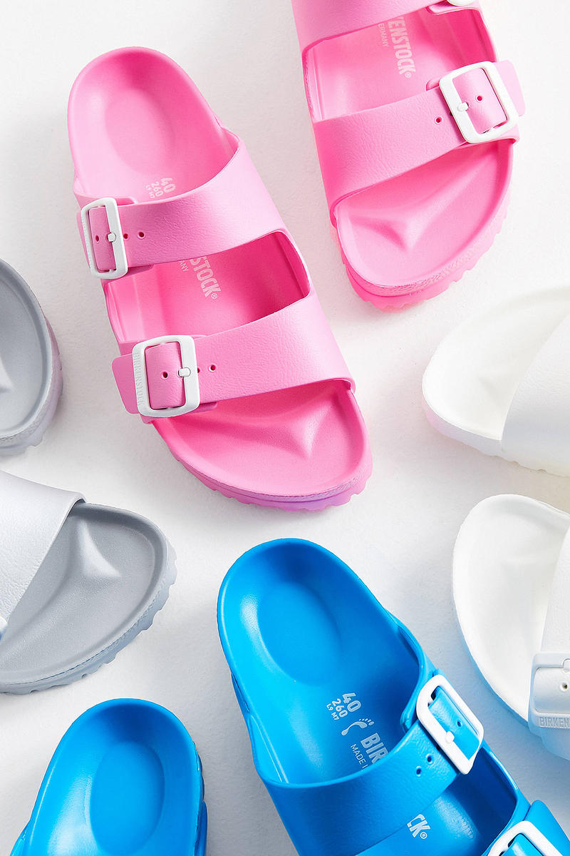 Birkenstock Arizona EVA Sandals Pink Blue Grey White Urban Outfitters Price Release Slip Ons Slippers Where to Buy