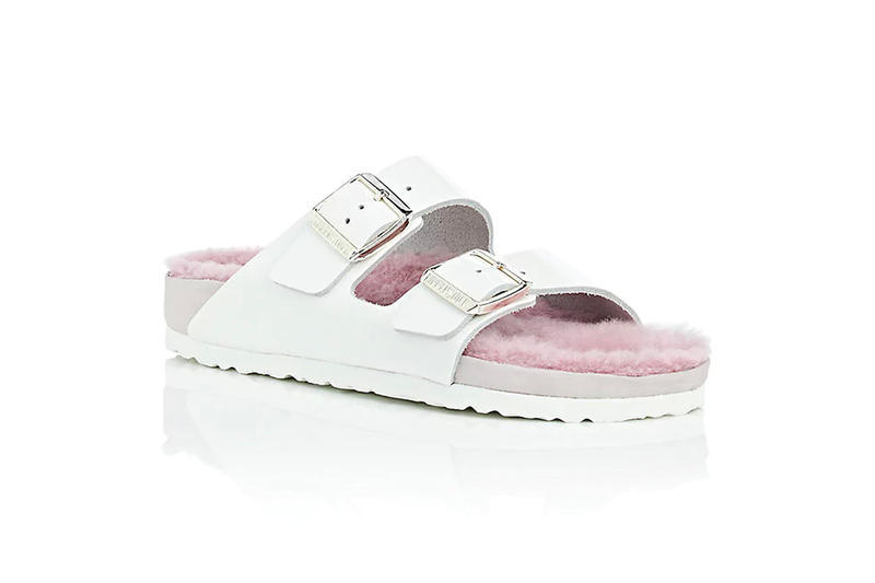 Barneys New York Birkenstock Arizona Fur Patent Leather Double Buckle Sandals Pastel Pink White Millennial Exclusive Price Release Where to Buy Furry