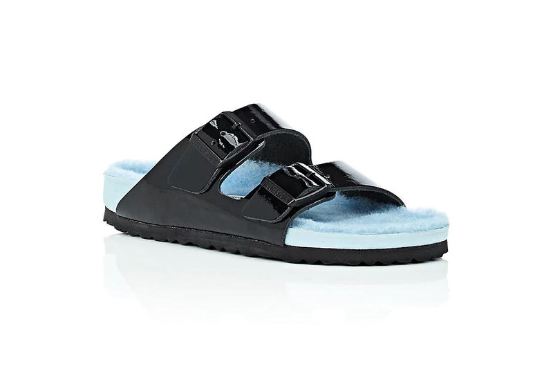 Barneys New York Birkenstock Arizona Fur Patent Leather Double Buckle Sandals Pastel Black Blue Exclusive Price Release Where to Buy Furry