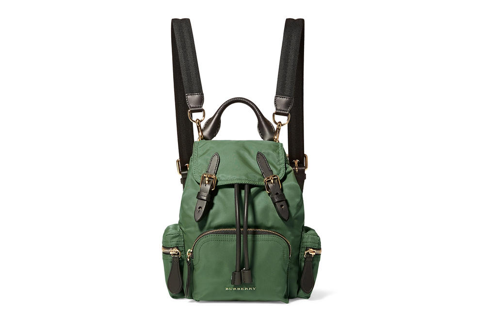 Burberry Mini Backpack Racing Green Where to Buy Miniature small designer bag rucksack gabardine leather net-a-porter