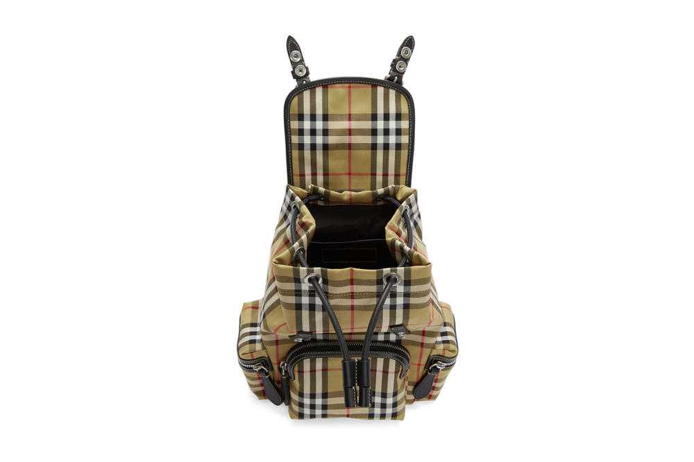 Burberry Beige Heritage Check Mini Backpack Print Nova Check Print Pattern Red White Black Yellow Bag