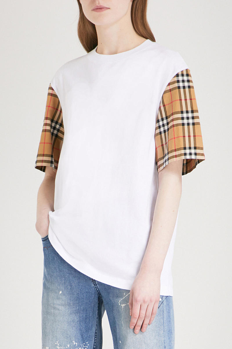 Burberry Plaid Checked Sleeve White T-Shirt Check Tee Mens Women's Unisex Where to Buy Selfridges