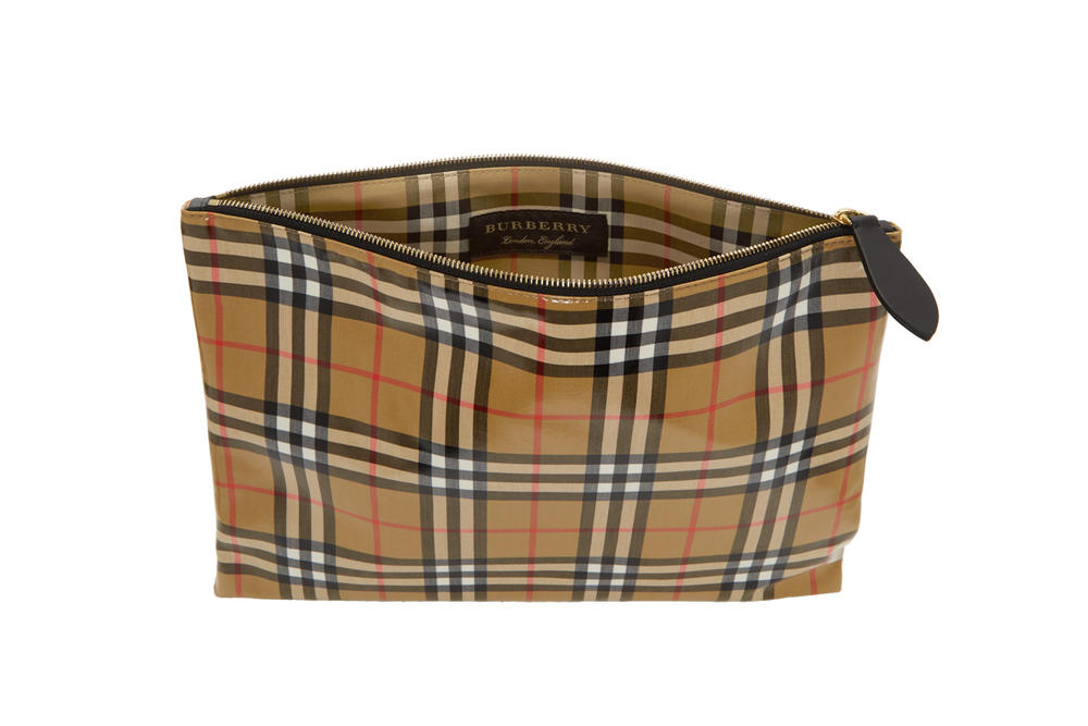 Burberry Coated Leather Signature Check Pouch Nova Check Heritage Check Pattern Beige Red White Black