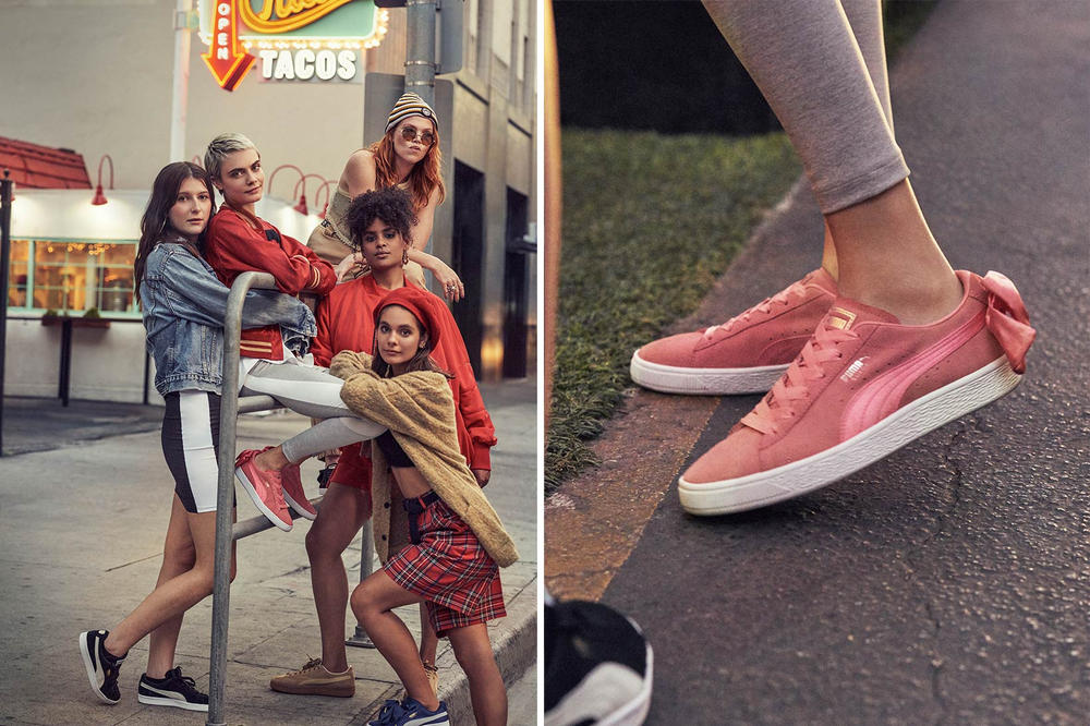 check out d8eb8 ef26e Cara Delevingne Poses in PUMA's Suede Bow Pink | HYPEBAE