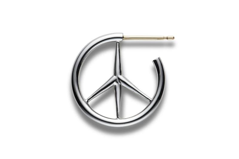 CAREERING Spring Summer 2018 Earrings Peace Sign Hoop Silver