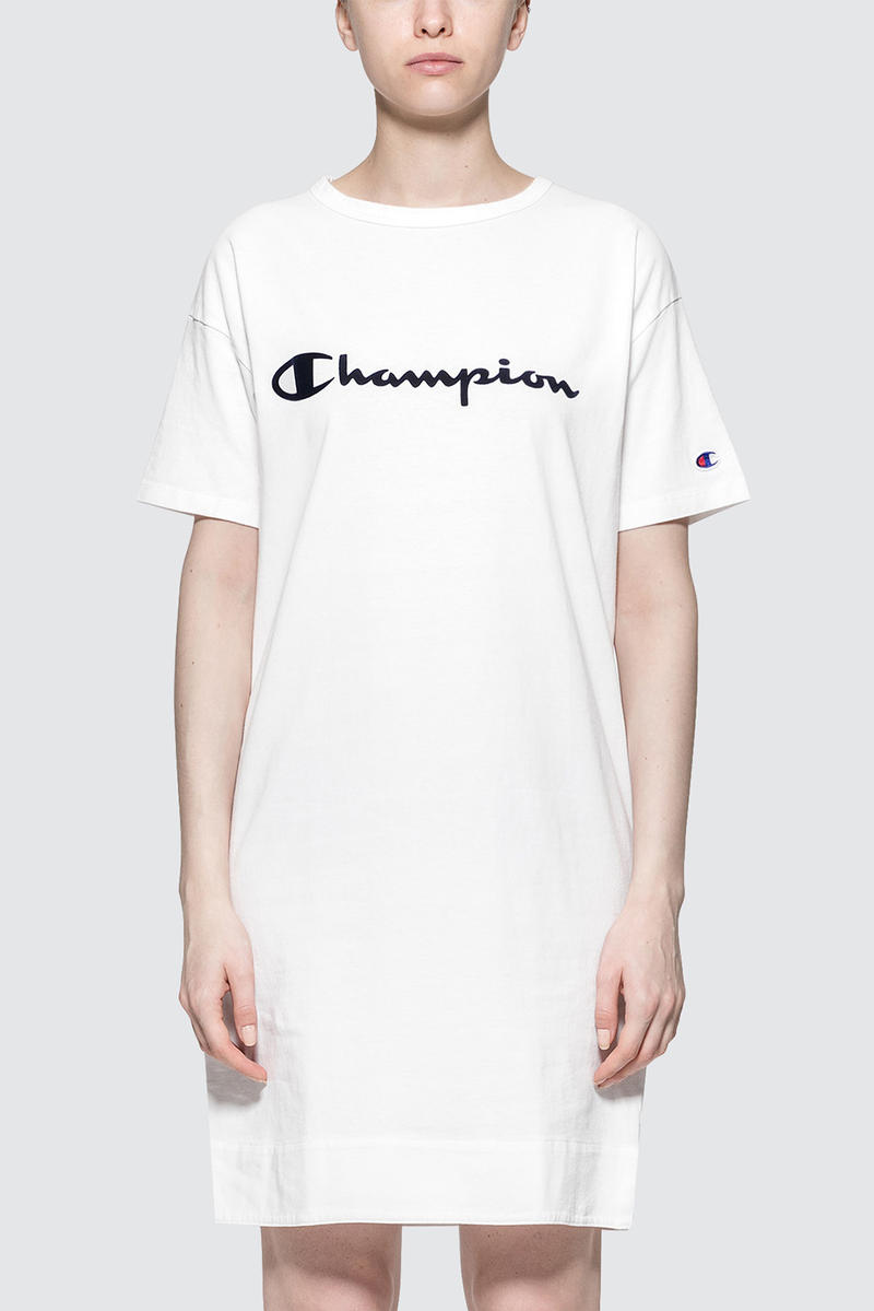 Champion Japan Logo T-Shirt Dress White Oversized Shift Women's Athletic Sporty Where to Buy HBX