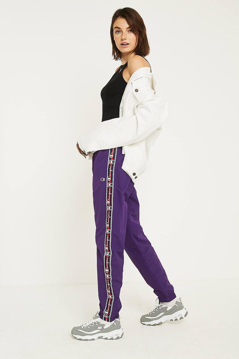 Champion Purple Logo Taped 90s Track Pants Retro Women's Athleisure Where to Buy urban outfitters