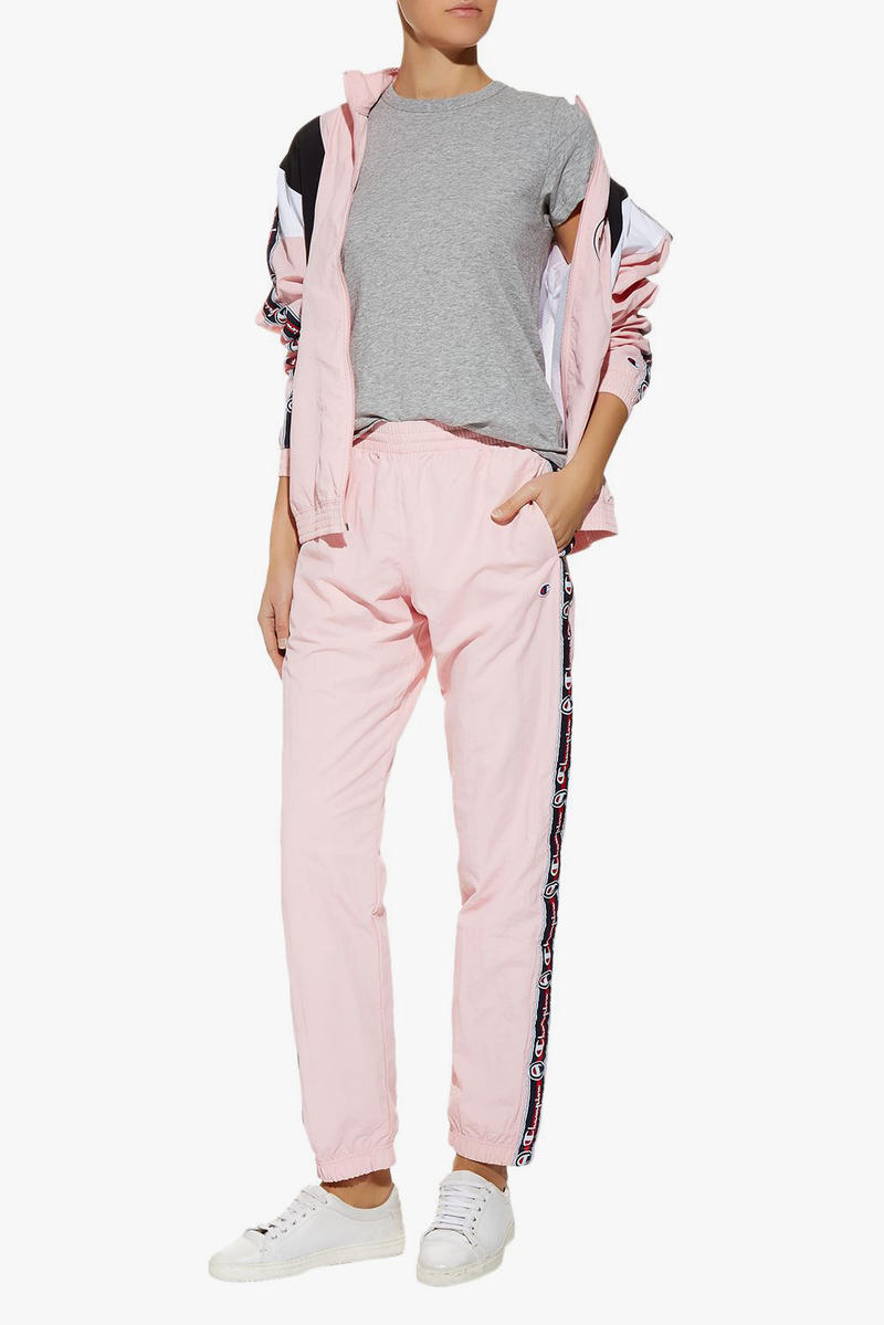 Champion Millennial Pastel Pink Logo-Tape Track Pants  Logo '90s Sweatpants tracksuit bottoms Where to Buy