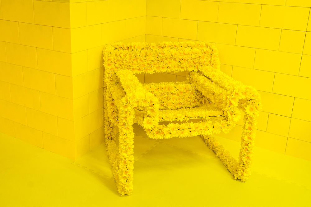 CJ Hendry Monochrome Greenpoint Brooklyn Exhibit Yellow Bedroom